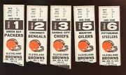 Lot Of 5 Different 1972 Nfl Football Cleveland Browns Ticket Stubs