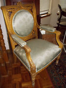 Antique 19th Century French Giltwood Louis Xvi Style Armchair