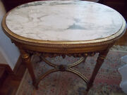 Antique 19th Century Louis Xvi Style Oval Giltwood Center Side Table Marble Top