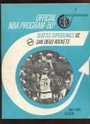 March 4 1969 Nba Basketball Program San Diego Rockets At Seattle Supersonics Ex
