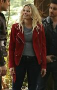 Women Emma Swan Red Suede Leather Jacket Once Upon A Time Season 7, All Sizes