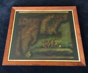 Map Northeast Of The Us By C. Allard Reverse Glass Painting New York City
