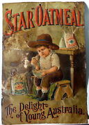 - Star Oatmeal - Early Australian Advertising Pressed Tin Sign C.1890 C.troedel