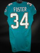 34 Arian Foster Miami Dolphins Game Used/issued Aqua Nike Jersey Sz-42 Yr-2014