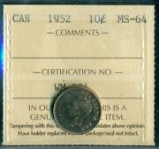 1952 Canada King George Vi Ten Cent Iccs Ms-64