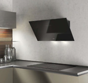 90cm Touch Control Angled Wall Mounted Cooker Hood - Airforce F203 - Black Glass
