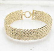 8 Diamond Cut Domed Basket Woven Mesh Link Bracelet Real Solid 14k Yellow Gold