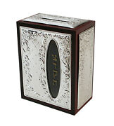 Tzedakah Box Collector Classic Wood And 925 Sterling Silver Hand Made In Italy
