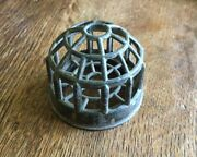 Vtg Spelter Flower Frog 2.5 Inch Metal Cage 19 Hole Rustic Aged Farmhouse Decor