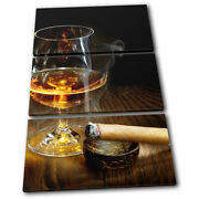 Cigar Cognac Brown Food Kitchen Treble Canvas Wall Art Picture Print