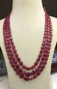 Christmas Sale 100 Natural 1250 Ct Genuine Ruby Tumble Beads 3 Strand Necklace
