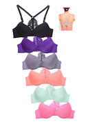 Lot 6 Full Cup Open Closure Wired Lace Regular / Push Up Front Closure Bra B/c