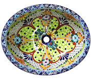 105 Small Bathroom Sink 16x11.5 Mexican Ceramic Hand Paint Drop In Undermount