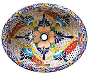 116 Small Bathroom Sink 16x11.5 Mexican Ceramic Hand Paint Drop In Undermount