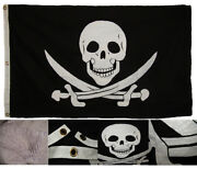 3x5 Embroidered Sewn Calico Jack Rackham 100 Cotton Flag 3'x5' Outrigger Clips