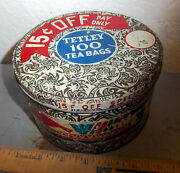 Vintage Tetley 100 Tea Bags Tin Empty, Great Graphics And Colors Fun Collectible