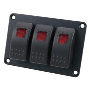 12/24v 3p Red Led On-off Rocker Toggle Switches Black Panel For Cars Boats Suv