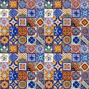 004 Set With 100 Mexican 2x2 Ceramic Tiles Handmade Handpainted Clay Tile