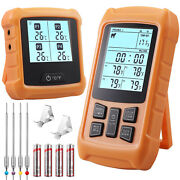 Digital Lcd Meat Thermometer 4 Probe Cooking Smoker Grill Bbq Oven Kitchen Food