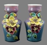 French Pair Of Antique Fives Lille Majolica Vases Hand Applied 3d Flowers