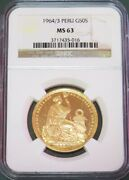 1964/3 Overdate Gold Peru 50 Soles Seated Liberty Coin Ngc Mint State 63