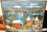 Alfred Birdsey Bermuda Town Boats Scene Old Original Oil On Canvas Painting