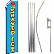 Shaved Ice Blue / Yellow Swooper Flag And 16ft Flagpole Kit/ground Spike