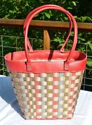 Longaberger To Go Motherand039s Day Basket Tote Purse Pink Leather Trim Floral Blooms