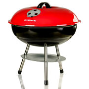 Ovente Outdoor Mini Charcoal And Wood Grill Portable Black And Red Gqr0400br