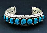 Sterling And Turquoise Bracelet/cuff Native American Handmade Navajo Sc Signed