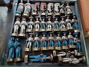 Vintage 1970and039sandnbsp Wooden Chees Game Mexican Hand Crafted Charro Style