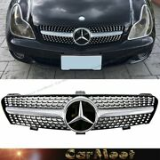 Fit Benz 04-08 W219 Cls-sedan Silver Chrome Diamond Dot Tuning Front Vent Grille