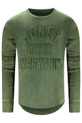 New Men Money Over Everything Crewneck Green Olive Long Sleeve Sizes S-3x