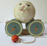 Vintage Briere Folk Art Wooden Pull Toy1986 Bunny Rabbit Ball And Pull Cart, 2186