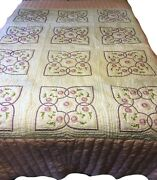 Handandnbspembroidered Full/queen Quilt With Pink Accents 100 Cotton Machine Quilte