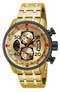 Menand039s Watch Aviator Chrono Gold Tone And Black Dial Steel Bracelet 17205
