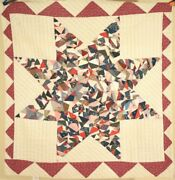 Outstanding Vintage 1880's Crazy Lone Star Antique Quilt, Sawtooth Border