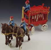 Cast Iron Cast Iron Overland Circus 2 Horse Drawn Wagon And Bear Toy Large 16''