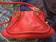 Rare Medium Paraty Bag W Receipts Hot Red/holly Berry Sold Out