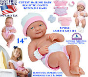 Newborn Baby Alive Doll Girl Realistic Cutest Smiling Jointed 8 Pcs Set Pink 14