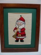 Framed Needlepoint Santa With Trumpet Christmas Matted And Framed Completed