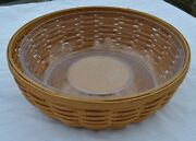 Longaberger 2005 Wb Warm Brown Serve - Around Basket With Plastic Protector