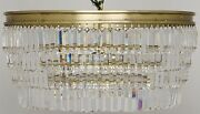 26 Chandellier Clear Glass Crystals Hang From Metal Frame Antique Brass
