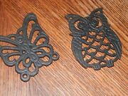Owl And Butterfly Cast Iron Trivets, Measure 3.5 X 4 In. Each, Good Condition