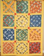 Graphic Vintage 40and039s Spider Web Antique Quilt On Yellow Ground Nice Plaids
