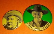 2pc Hopalong Cassidy 1950's Western Badge Pin Button Collection Vintage Rare