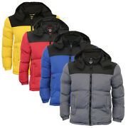 Mens Padded Quilted Jacket Hooded Winter Bubble Coat Dale By Brave Soul