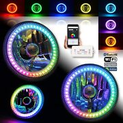 5-3/4 Bluetooth Rgb Smd Color Chase Chasing Led Halo Angel Eye Headlight Pair