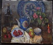 Antique 1968 Original Russian Painting Ussr Oil On Canvas Gusev Yuri