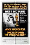 Original One Flew Over The Cuckooand039s Nest Movie Poster Oscar 27 X 41 Folded Vf